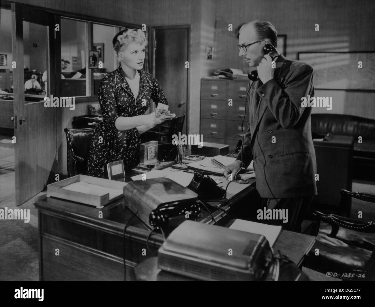 Judy Holliday and Vaughn Taylor, On-Set of the Film, It Should Happen to You, 1954 - Stock Image