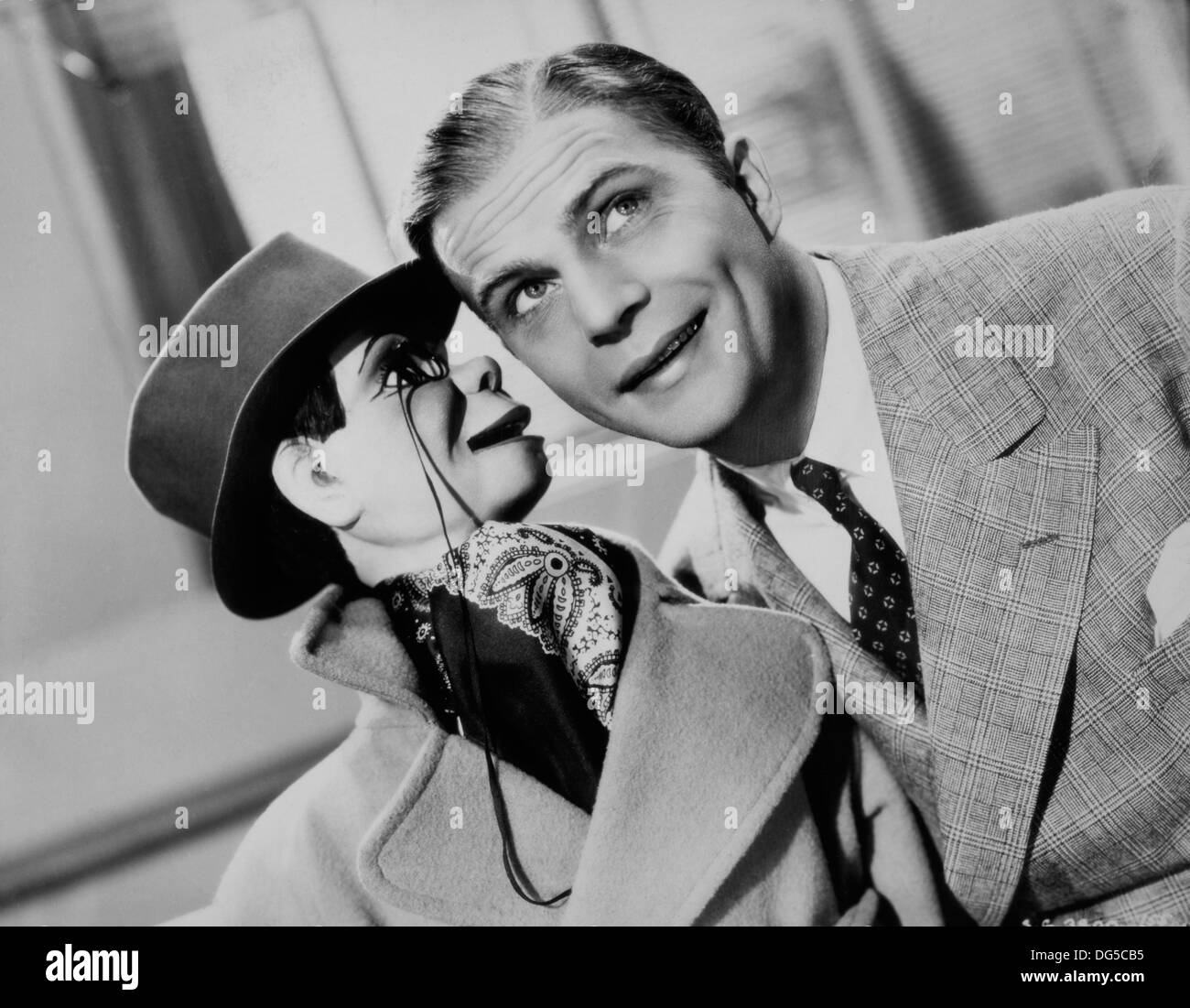 Edgar Bergen with Charlie McCarthy, on-set of the Film, 'The Goldwyn Follies', Samuel Goldwyn Productions with Distribution via United Artists, 1938 - Stock Image