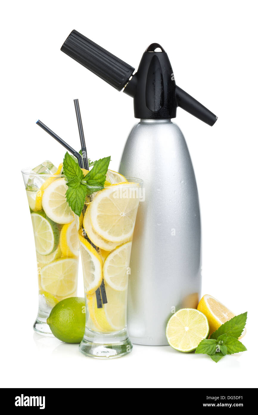 Glasses with homemade lemonade and siphon. Isolated on white background - Stock Image