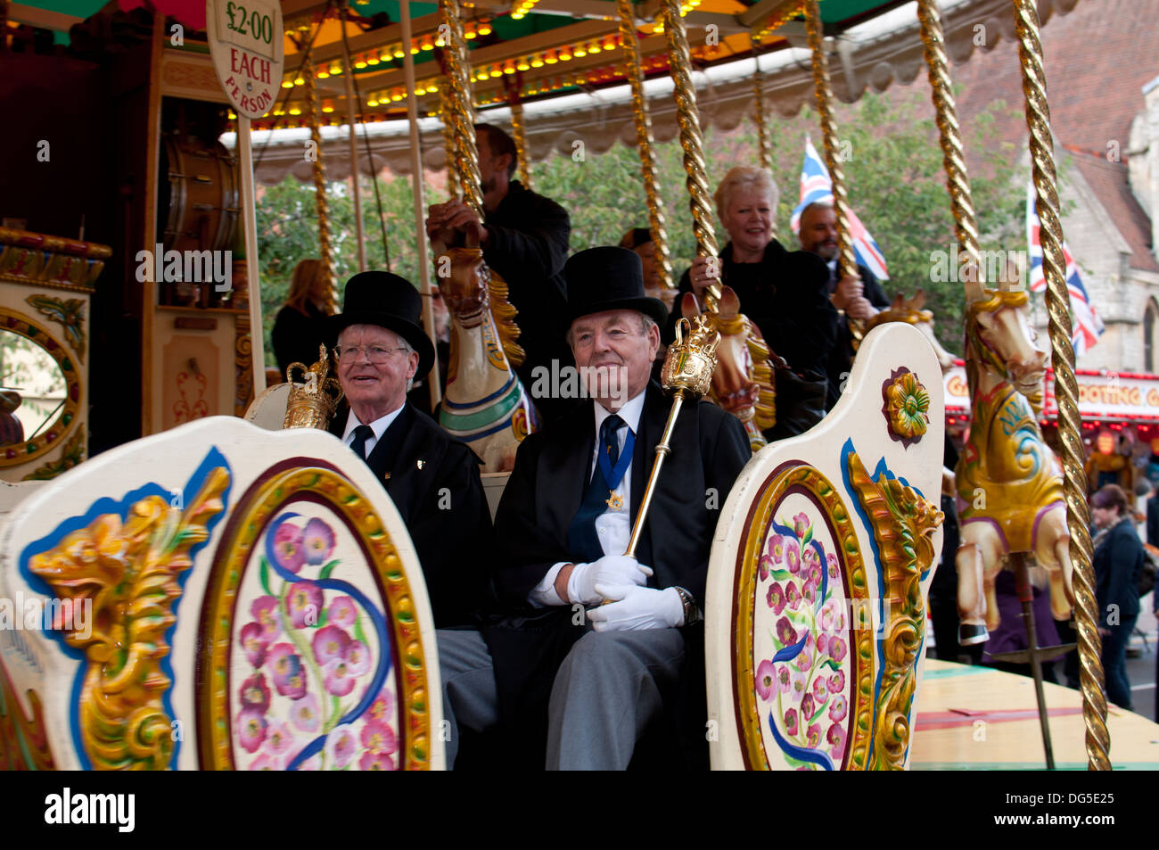 The Mace Bearers of Stratford-upon-Avon at the official opening of the 2013 mop fair, Warwickshire, UK - Stock Image