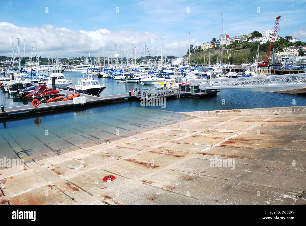 The D day embarkation ramp in the harbour at Torquay, Devon, UK - Stock Image