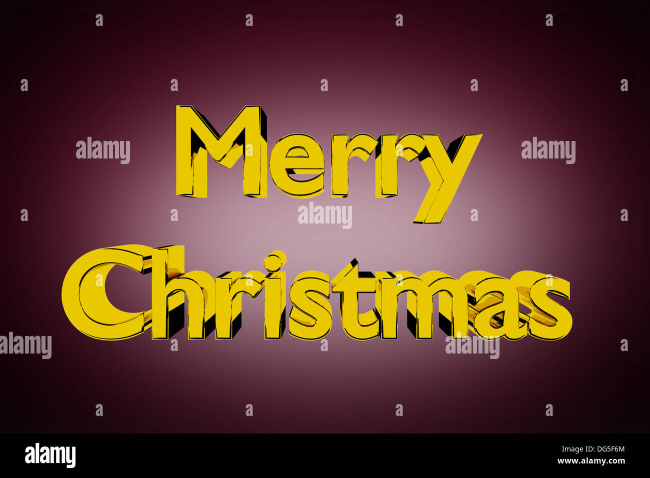 3D Illustration of golden Merry Christmas lettering on a red background - Stock Image