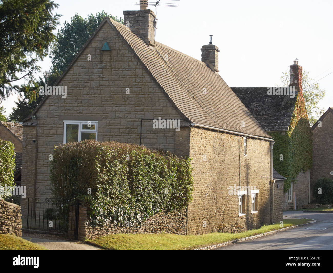 Typical Cotswold cottages Ewen Glocestershire England - Stock Image