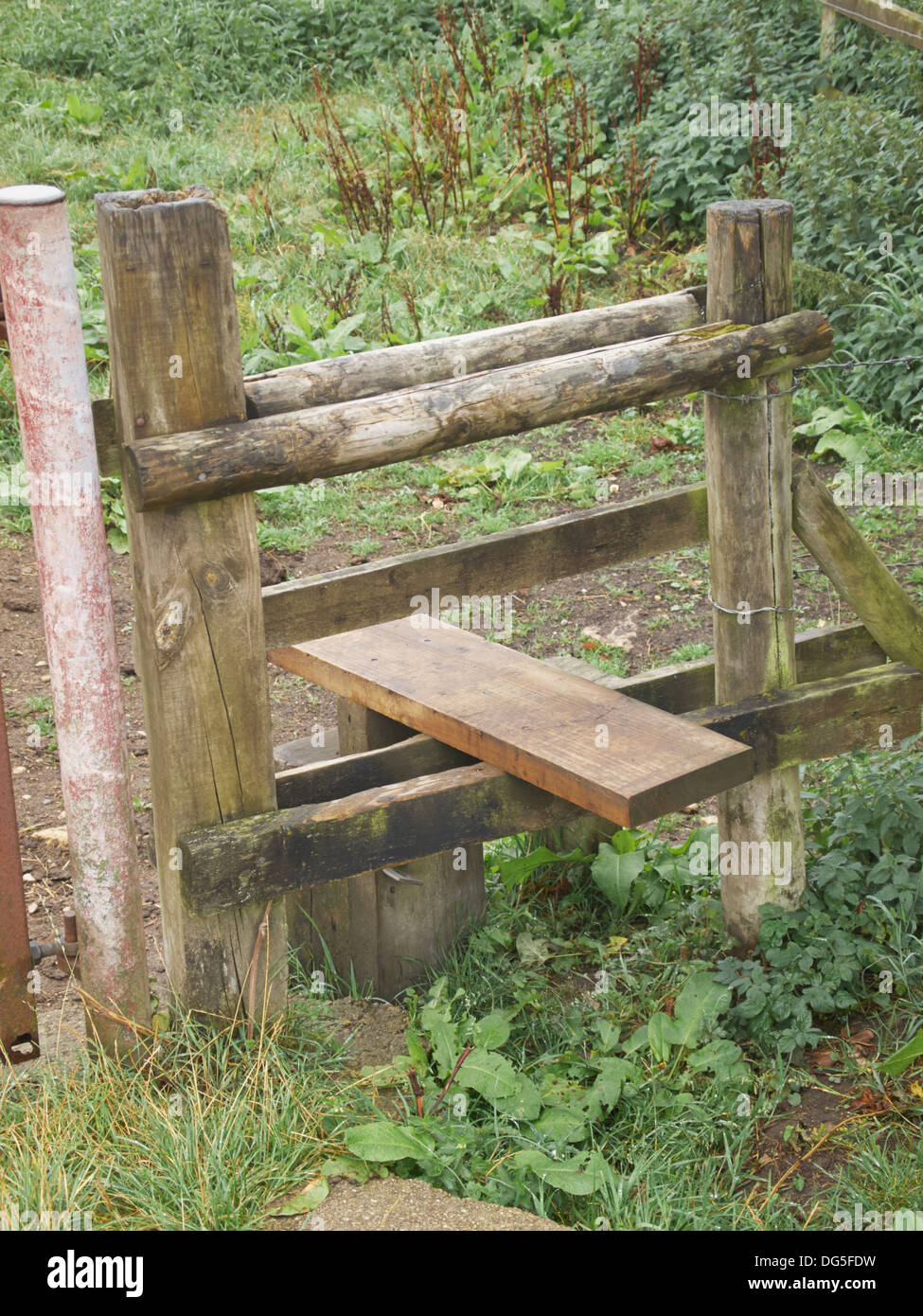 Stile on the Thames Path, Ewen, Gloscestershire, England - Stock Image