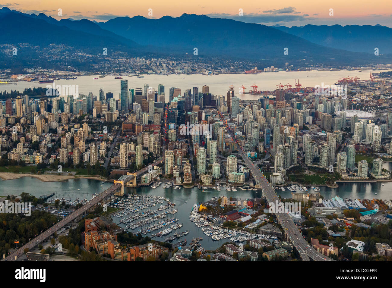 Downtown Vancouver, British Columbia, Canada from the air with Granville Island in the foreground - Stock Image