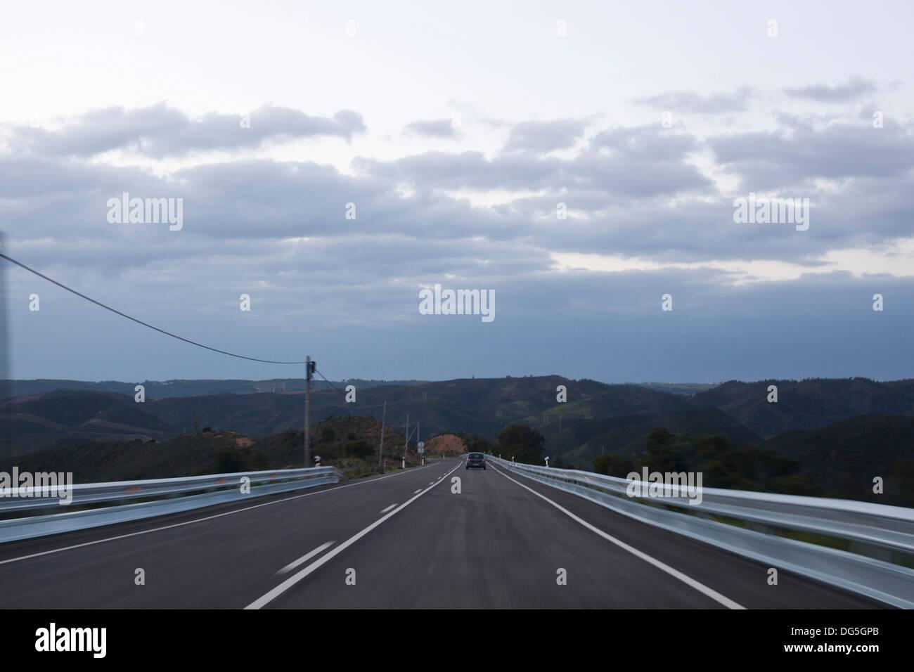 road to aljezur in the algarve in portugal - Stock Image