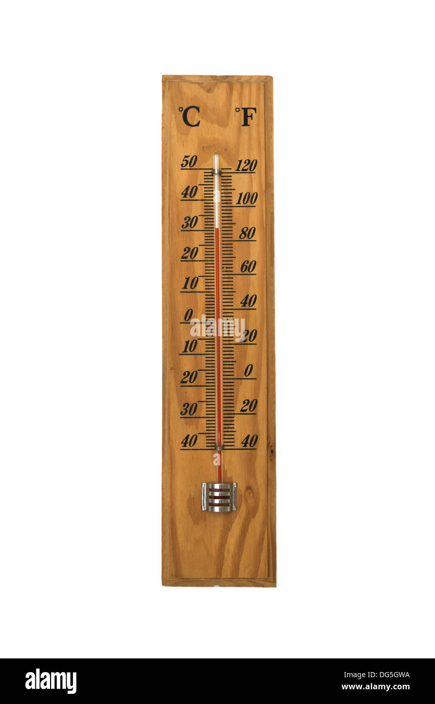 Celsius and Fahrenheit temperature household thermometer - Stock Image