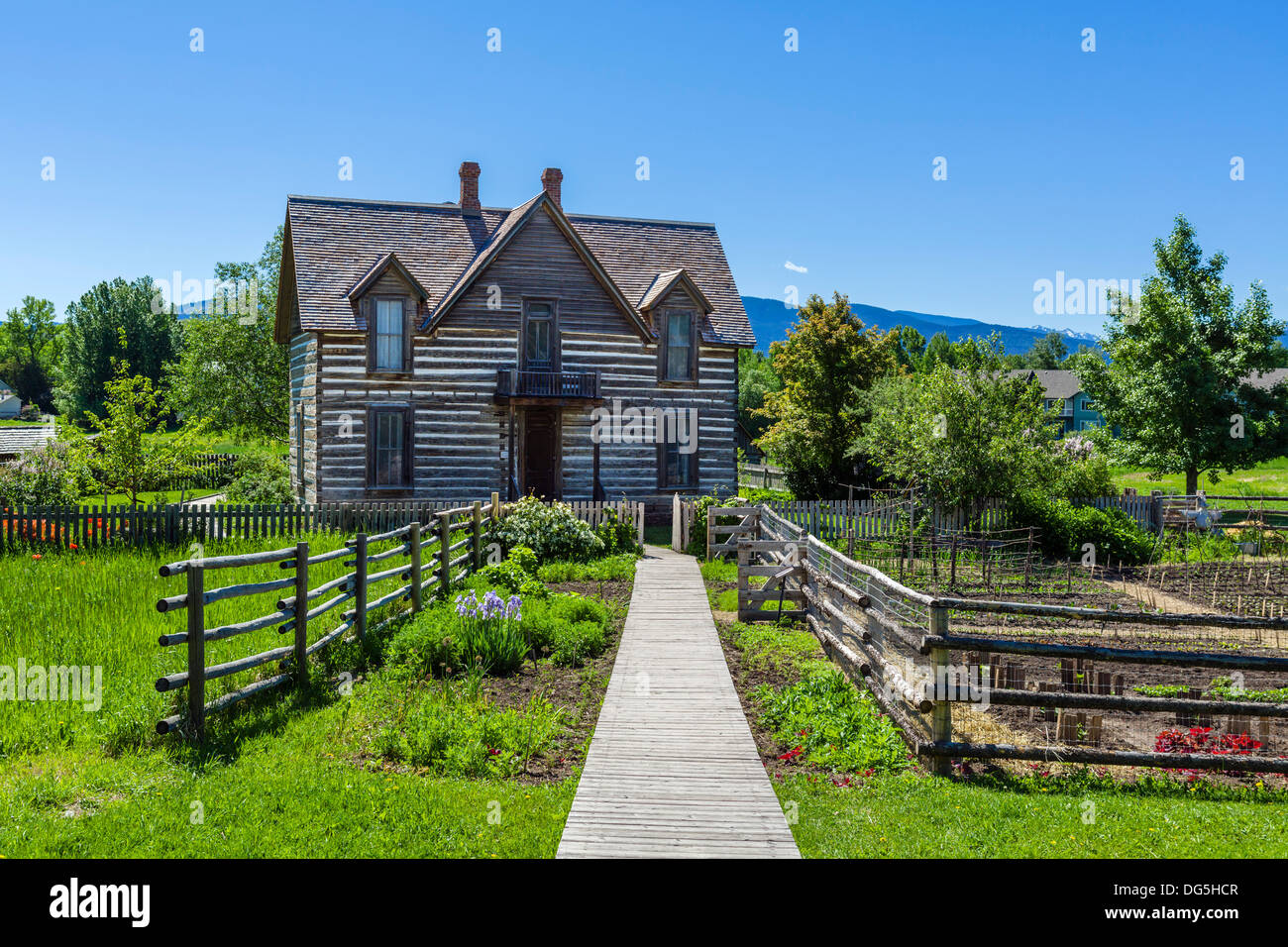 The 19thC Tinsley House homestead, a living history exhibit at the Museum of the Rockies, Bozeman, Montana, USA - Stock Image
