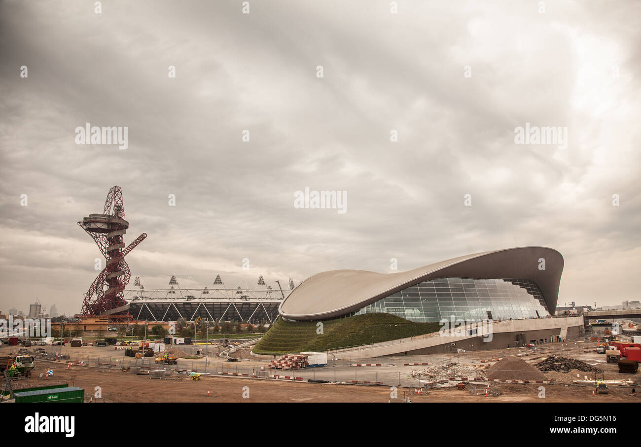 The London Olympic Park after the London Olympics showing construction work - Stock Image