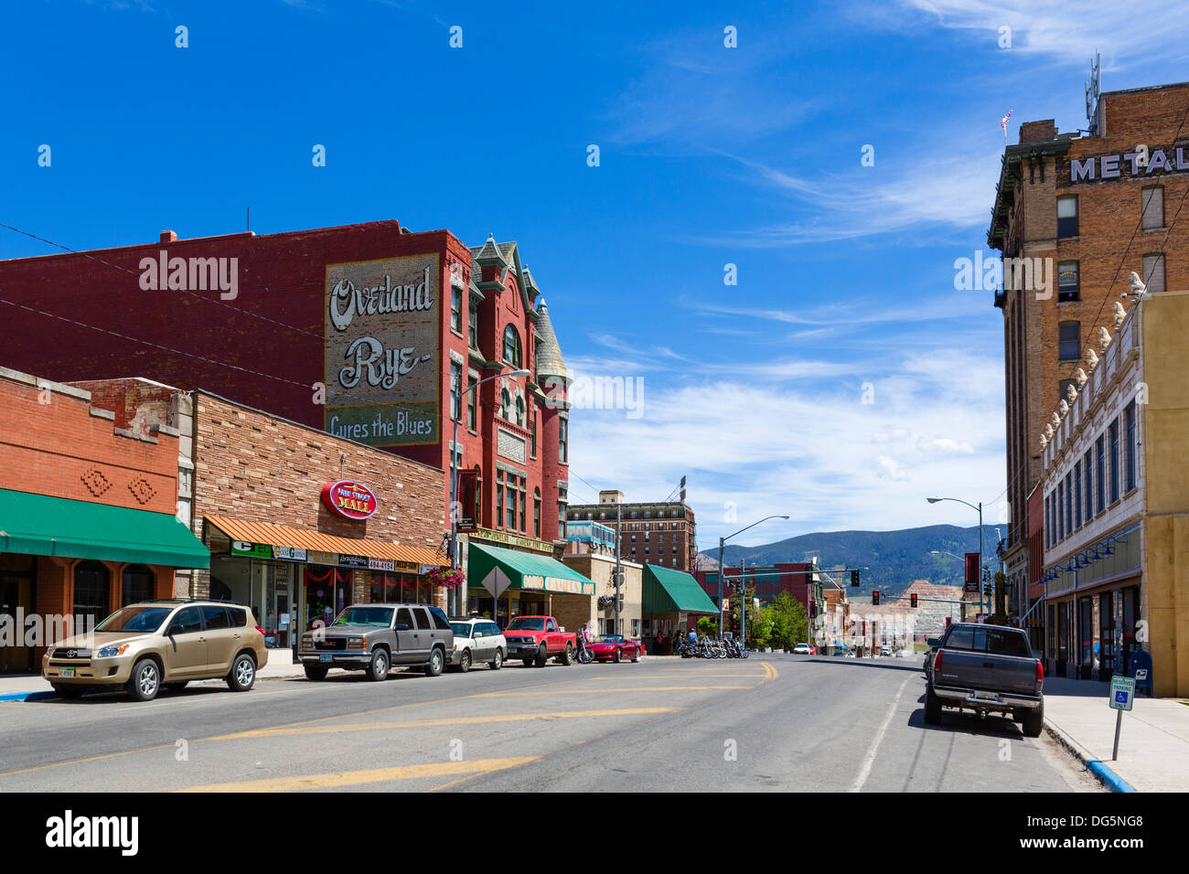 West Park Street in historic uptown Butte, Montana, USA - Stock Image