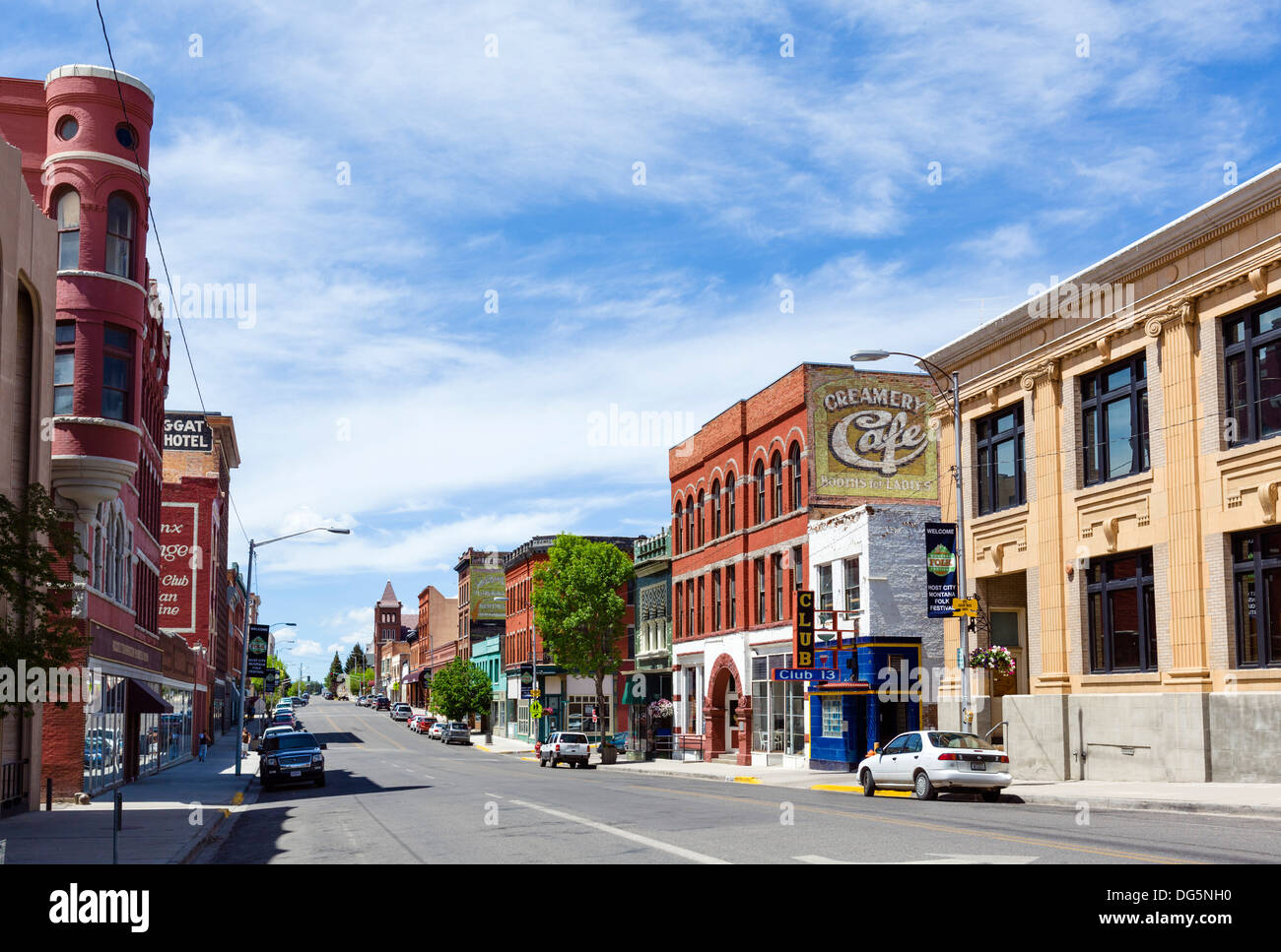 West Broadway Street in historic uptown Butte, Montana, USA - Stock Image