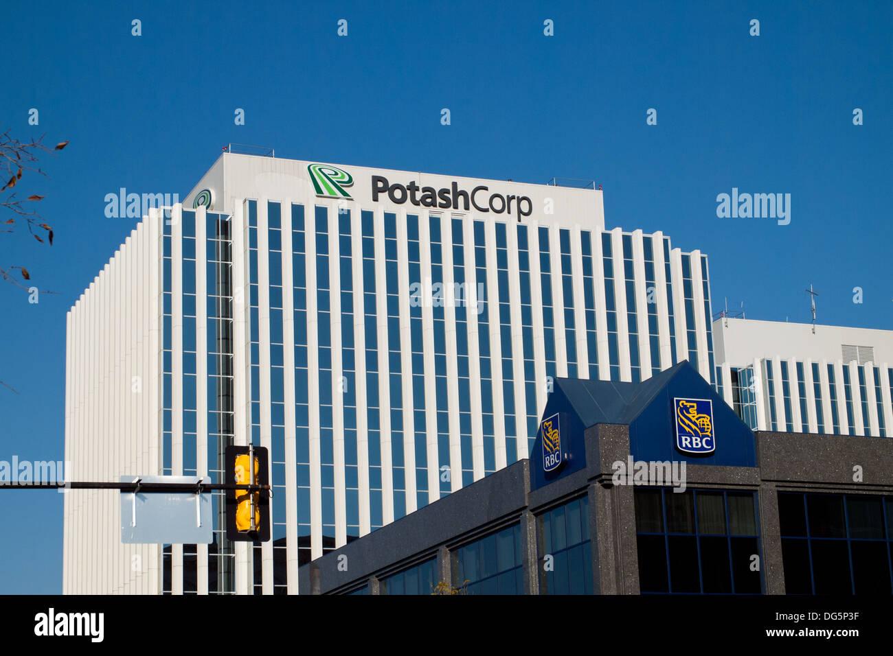 The Canadian corporate headquarters of the Potash Corporation of Saskatchewan (PotashCorp) in Saskatoon, Saskatchewan, Canada. - Stock Image