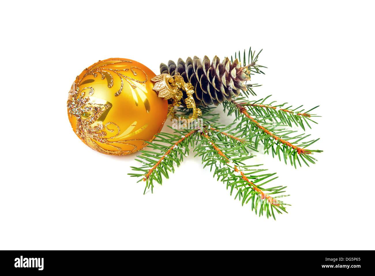 Christmas ball and pine tree branch decoration - Stock Image