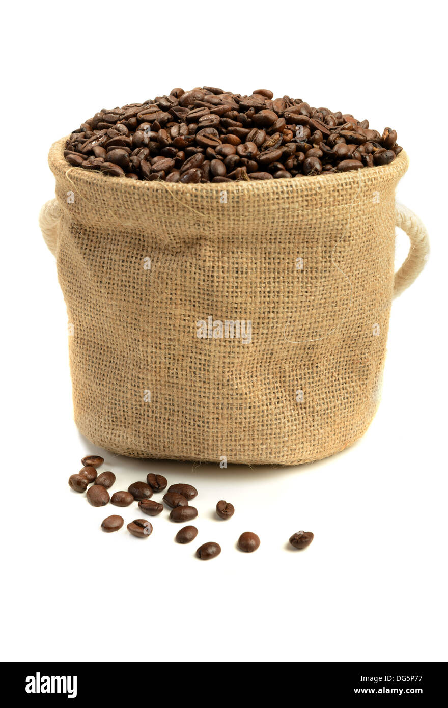 Coffee beans in canvas sack - Stock Image