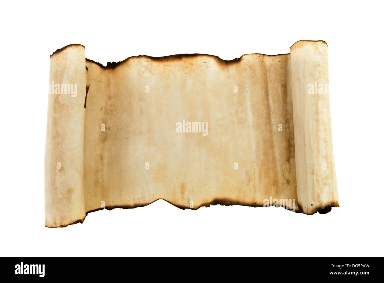 old paper scroll with burned ends. High detailed 24Mp - Stock Image