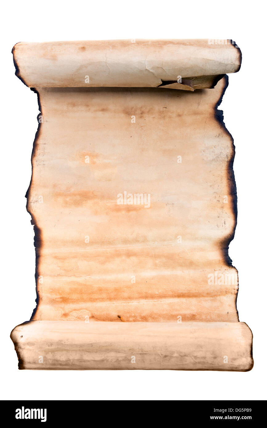 Old roll of ragged parchment - Stock Image