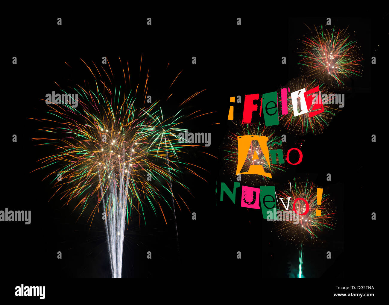 Happy New Year 2014 colorful colourful fireworks on black background. Also with 2014 see DG5TNK and Happy New Year DG5TNC - Stock Image