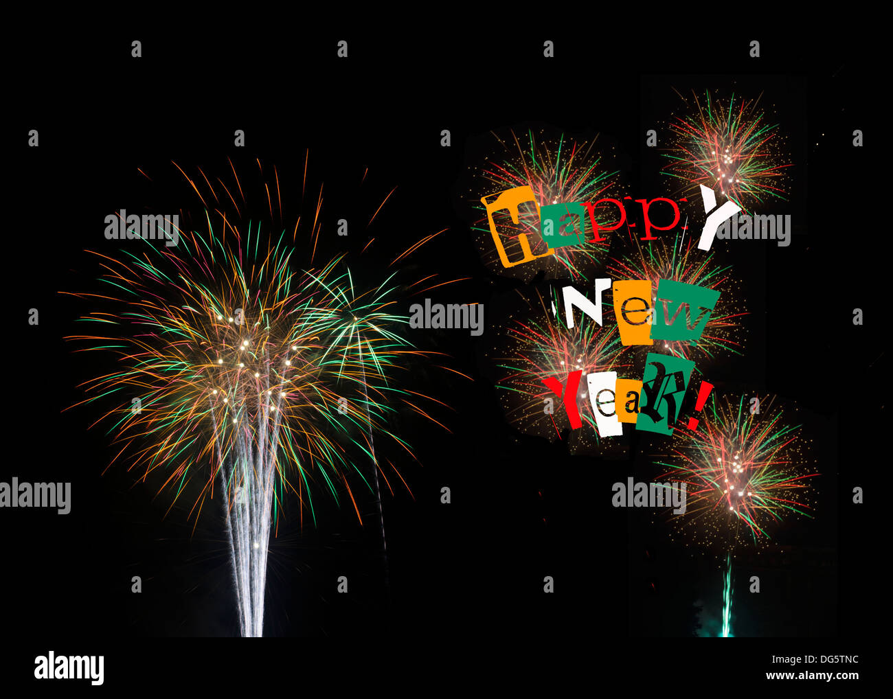 Happy New Year 2014 colorful colourful fireworks on black background. Also with 2014 see DG5TNK and Feliz Año Nuevo DG5TNA - Stock Image
