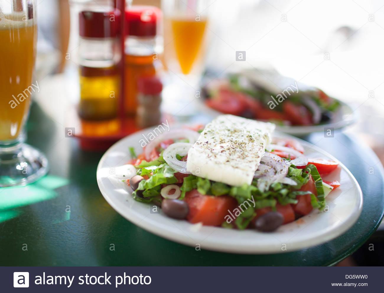 Veg salad served in a cafe - Stock Image