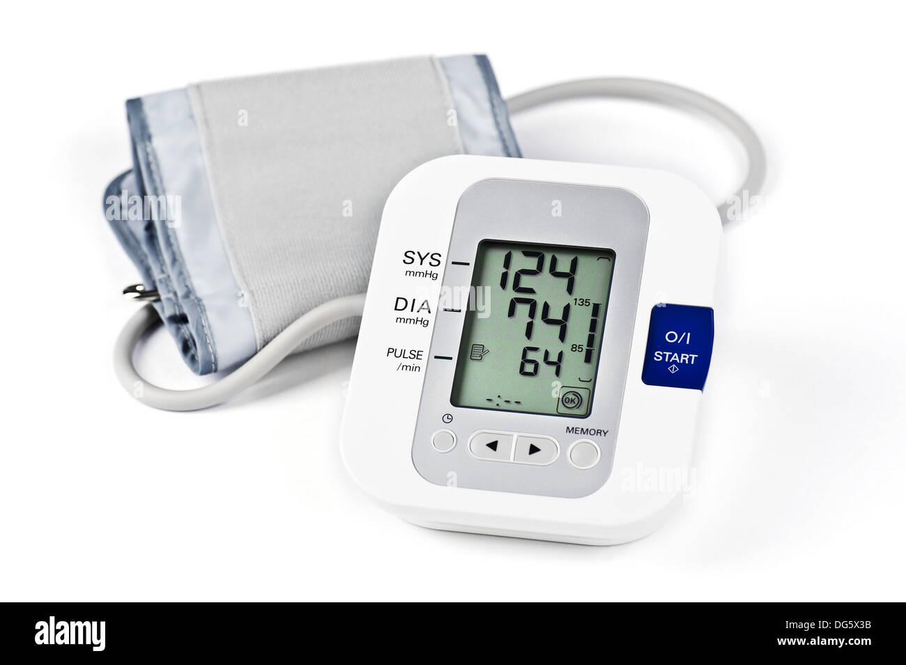Digital Blood Pressure Monitor on white background - Stock Image