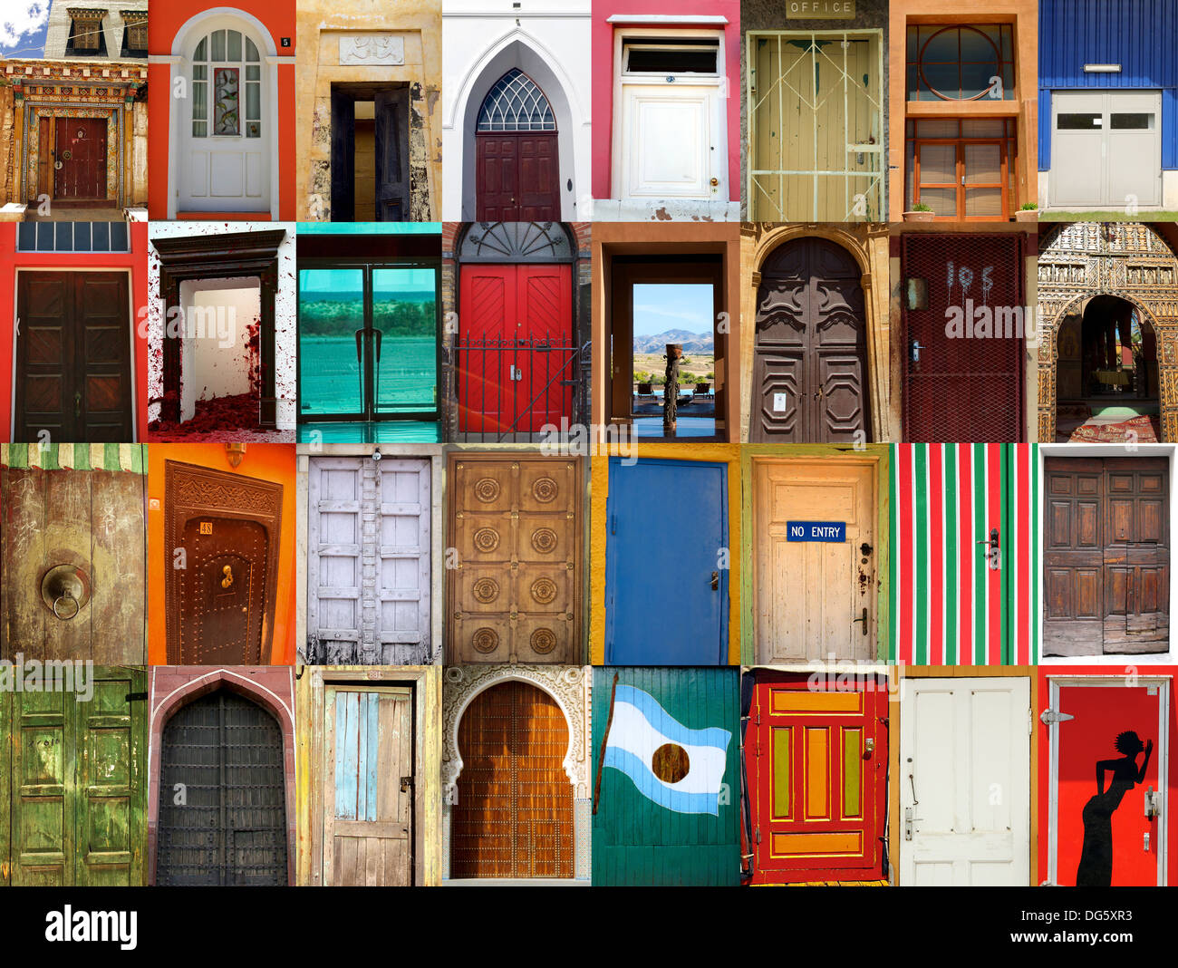 High-definition composition of 32 street doors in various locations of the world - Stock Image