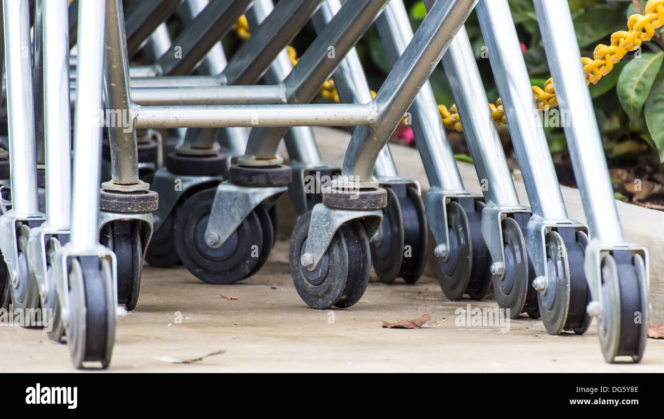 Wheel Cart,Shopping carts wheels closeup - Stock Image