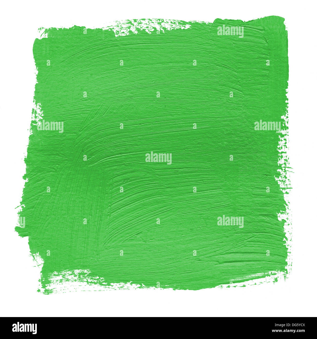 hand painted background with green acrylic paint - Stock Image
