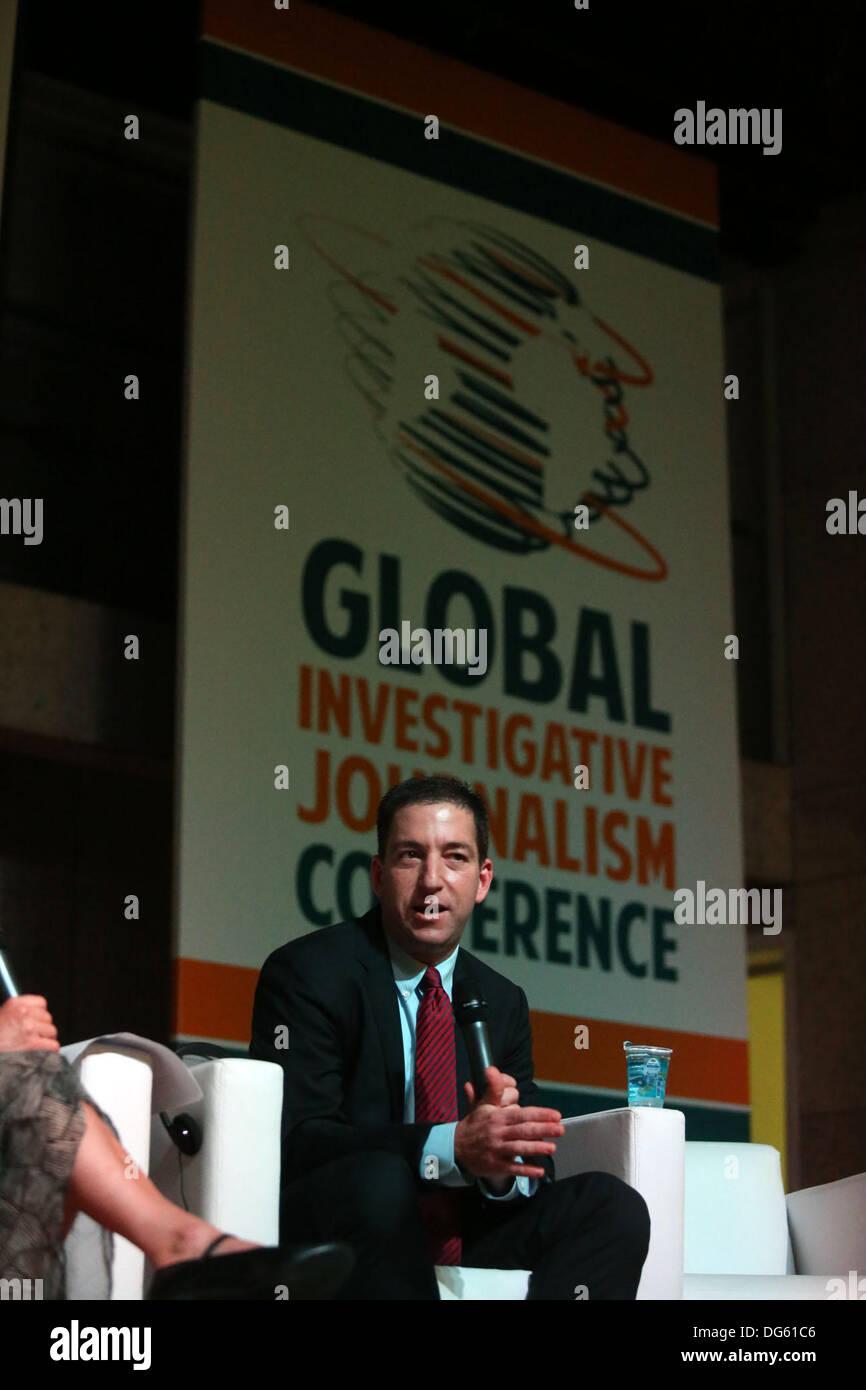 Rio de Janeiro, southeastern Brazil. 14th Oct, 2013. The journalist Glenn Greenwald, a columnist for the British Stock Photo
