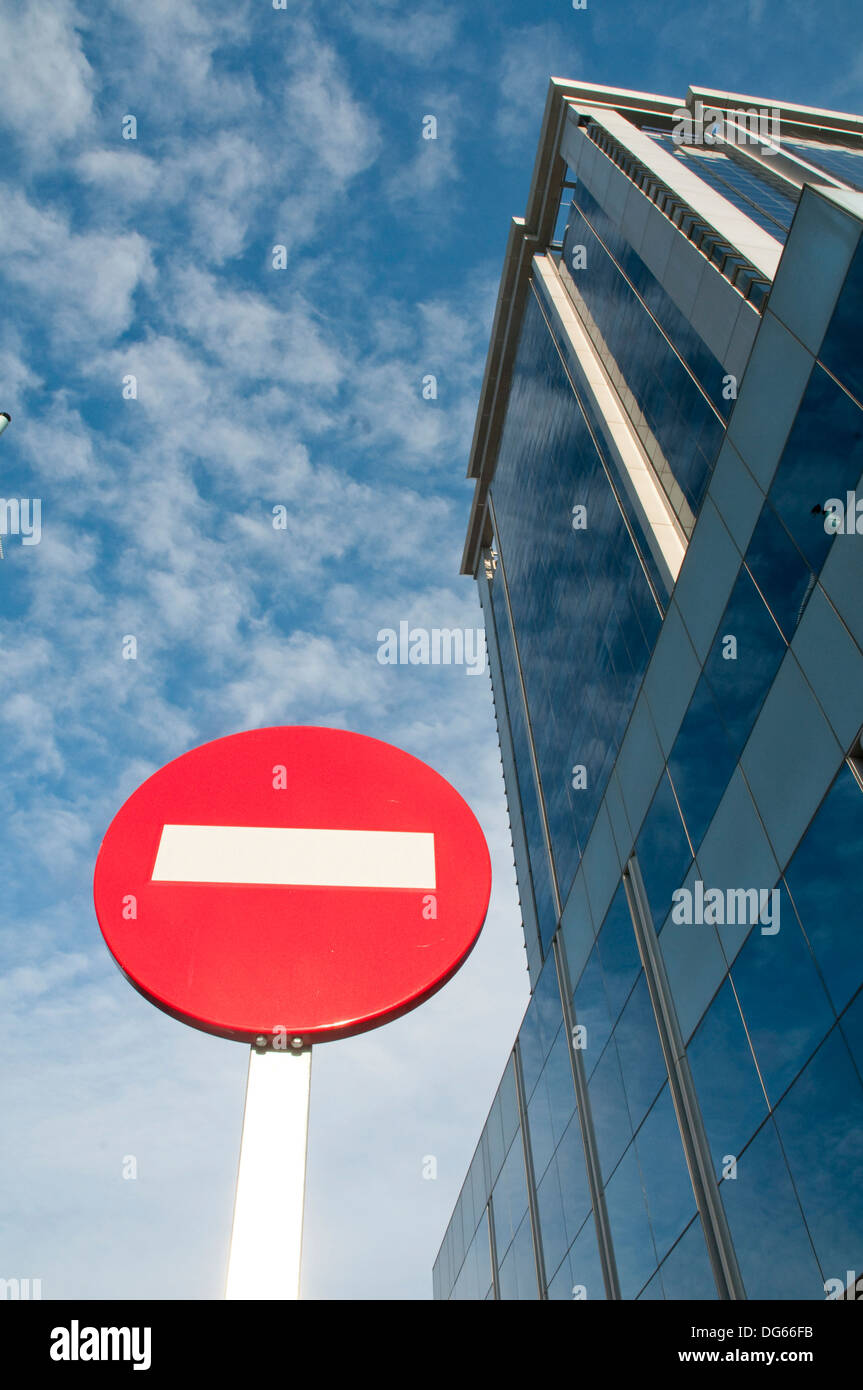 No entry road sign and office building. Mendez Alvaro street, Madrid, Spain. Stock Photo
