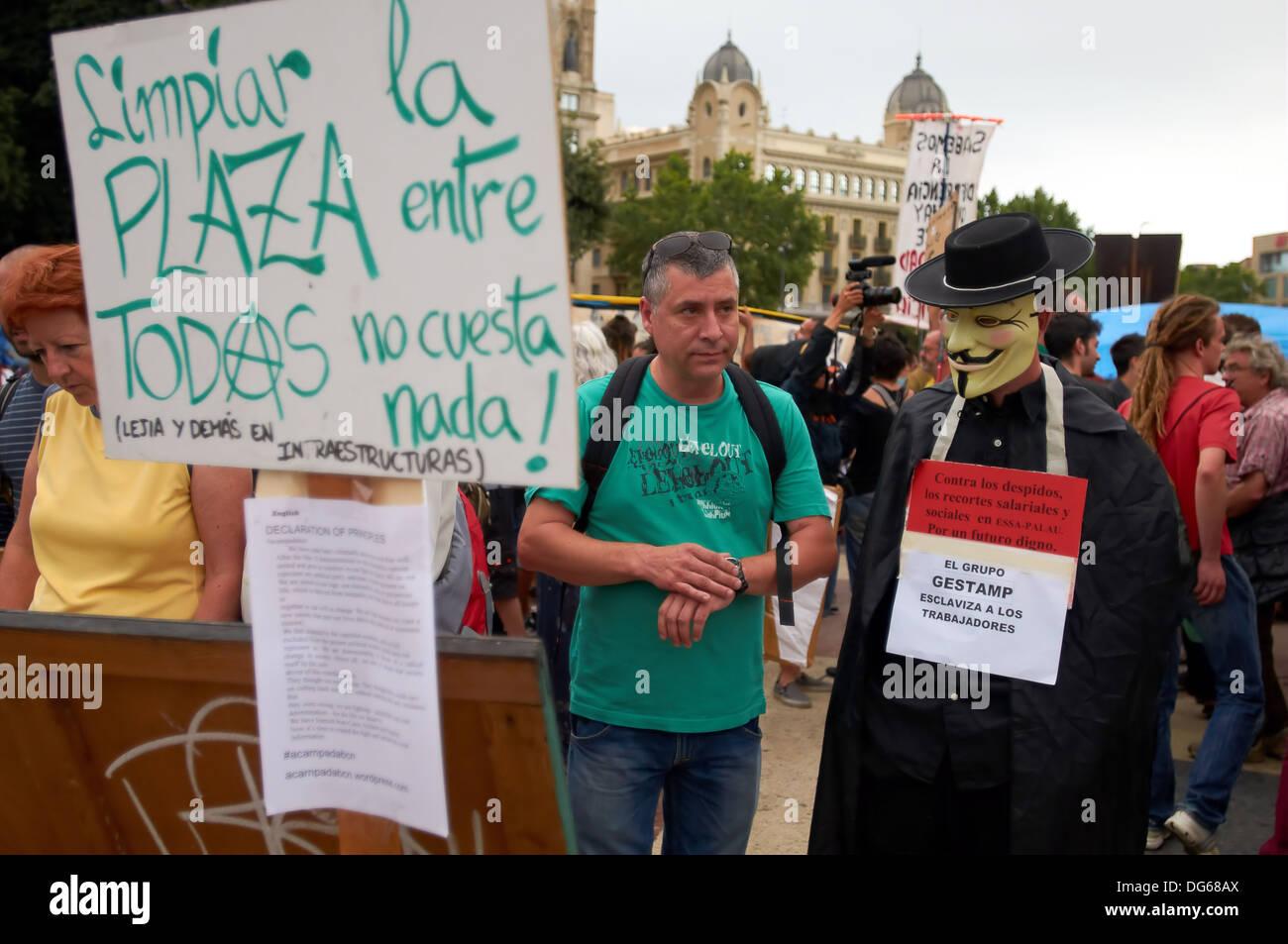 -Anonymous- Indignant Movement 15M, Barcelona (Spain). - Stock Image