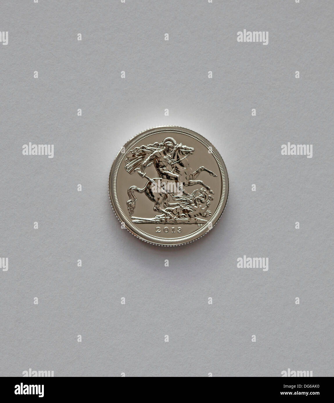 UK. 15th Oct. 2013, the Royal Mint releases United Kingdom's first ever £20 coin to those who had it on special order. The coin will go on general release on 31st October 2013. The George and the Dragon 2013 £20 Fine Silver Coin. It is minted in fine silver and carries one of the most famous designs ever to feature on Britain's coins, the design was made famous on the gold Sovereign. The coin is legal tender. - Stock Image