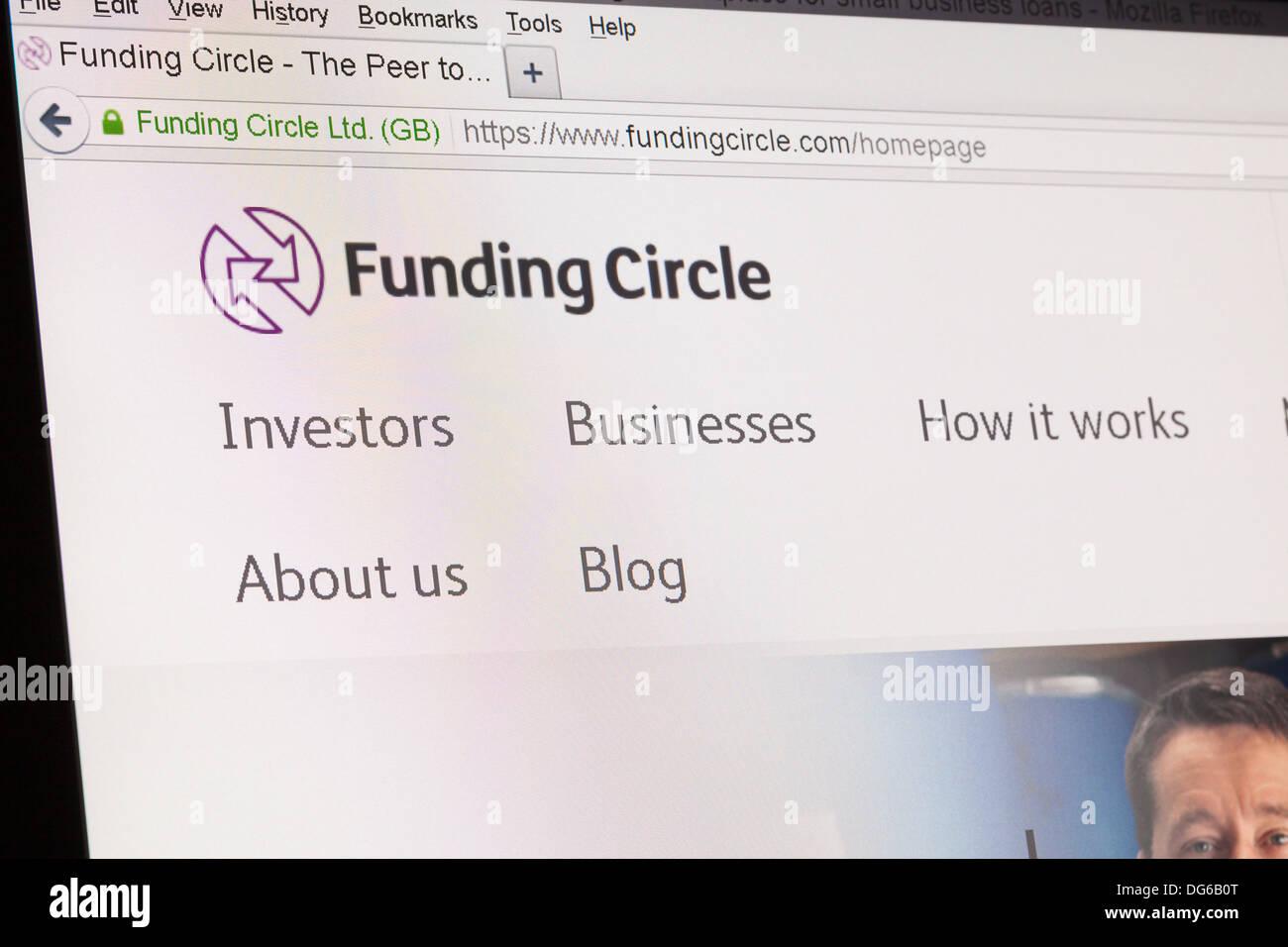 Screenshot of the funding circle homepage - Stock Image