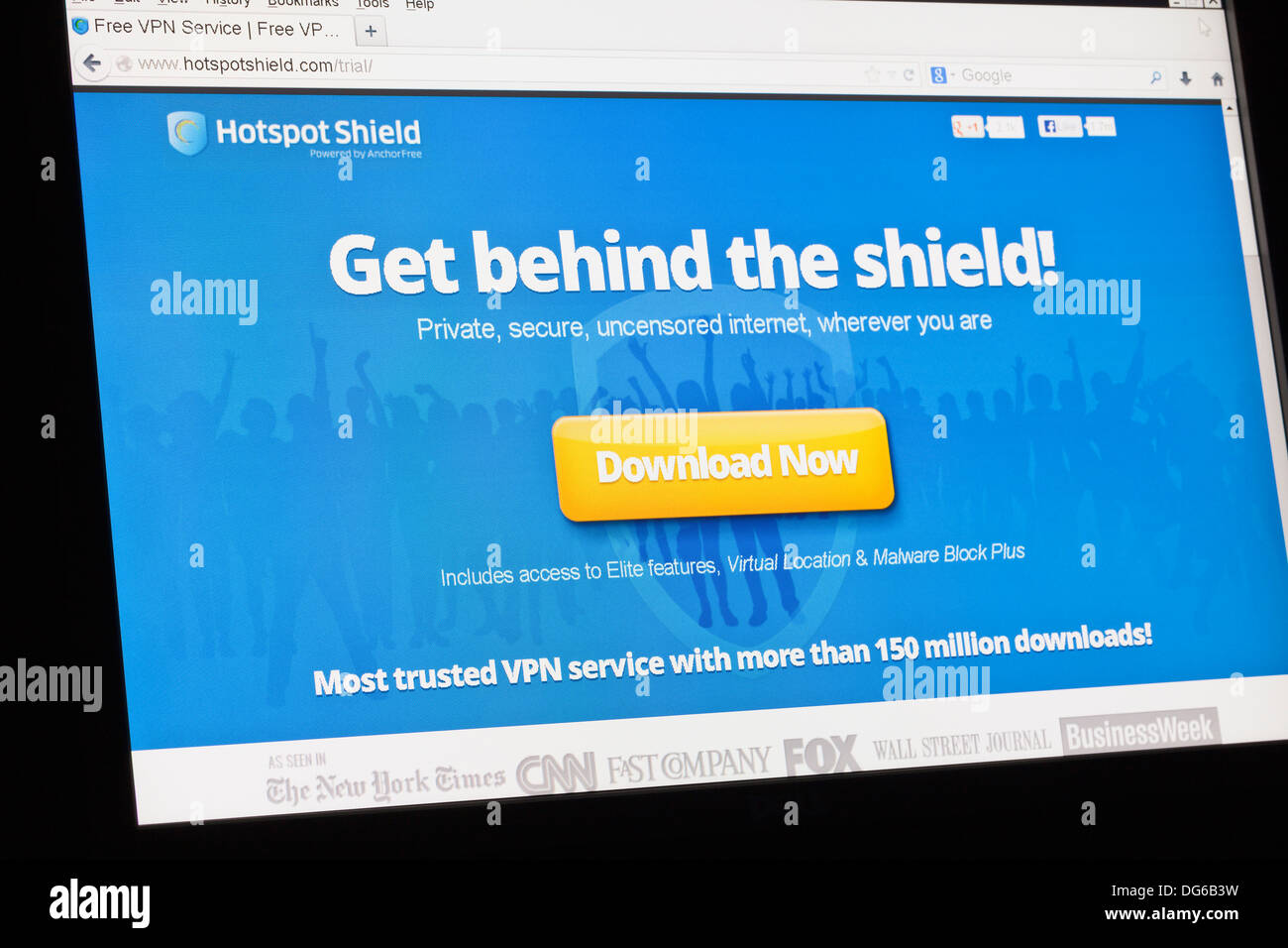 Screenshot of the hot spot shield homepage - Stock Image