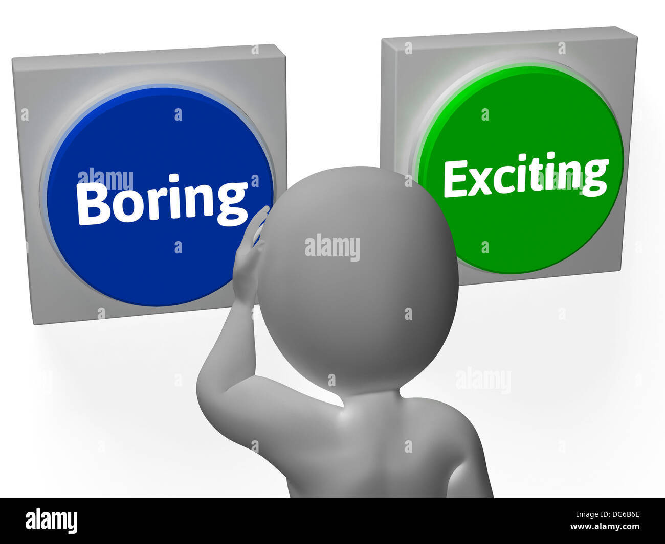 Boring Exiting Buttons Showing Dull Or Thrilling Stock Photo