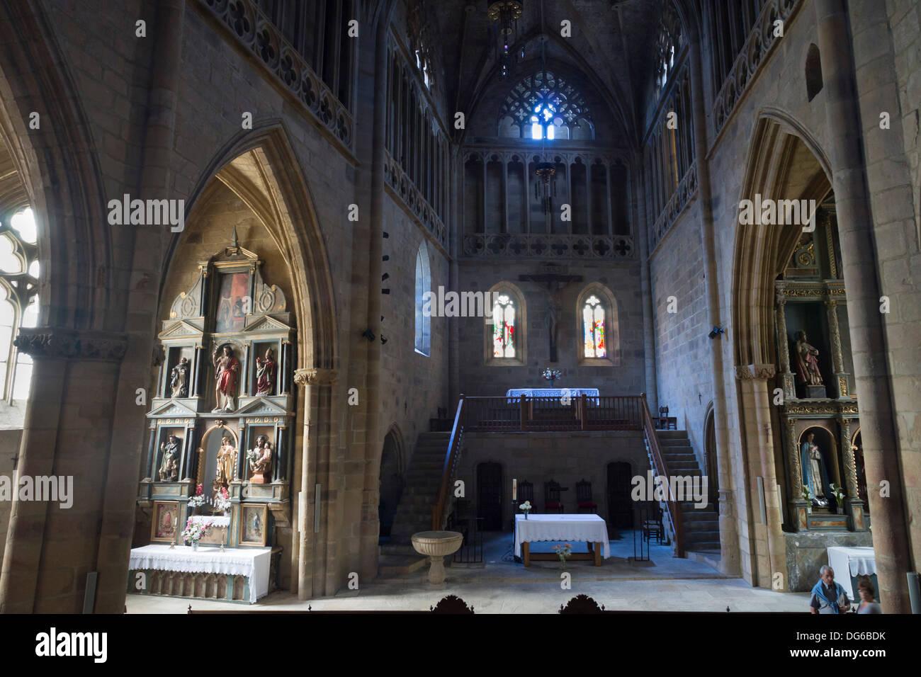 Basque country, Euskadi - seaside fishing town and resort of Getaria. Church of San Salvador. Interior. - Stock Image
