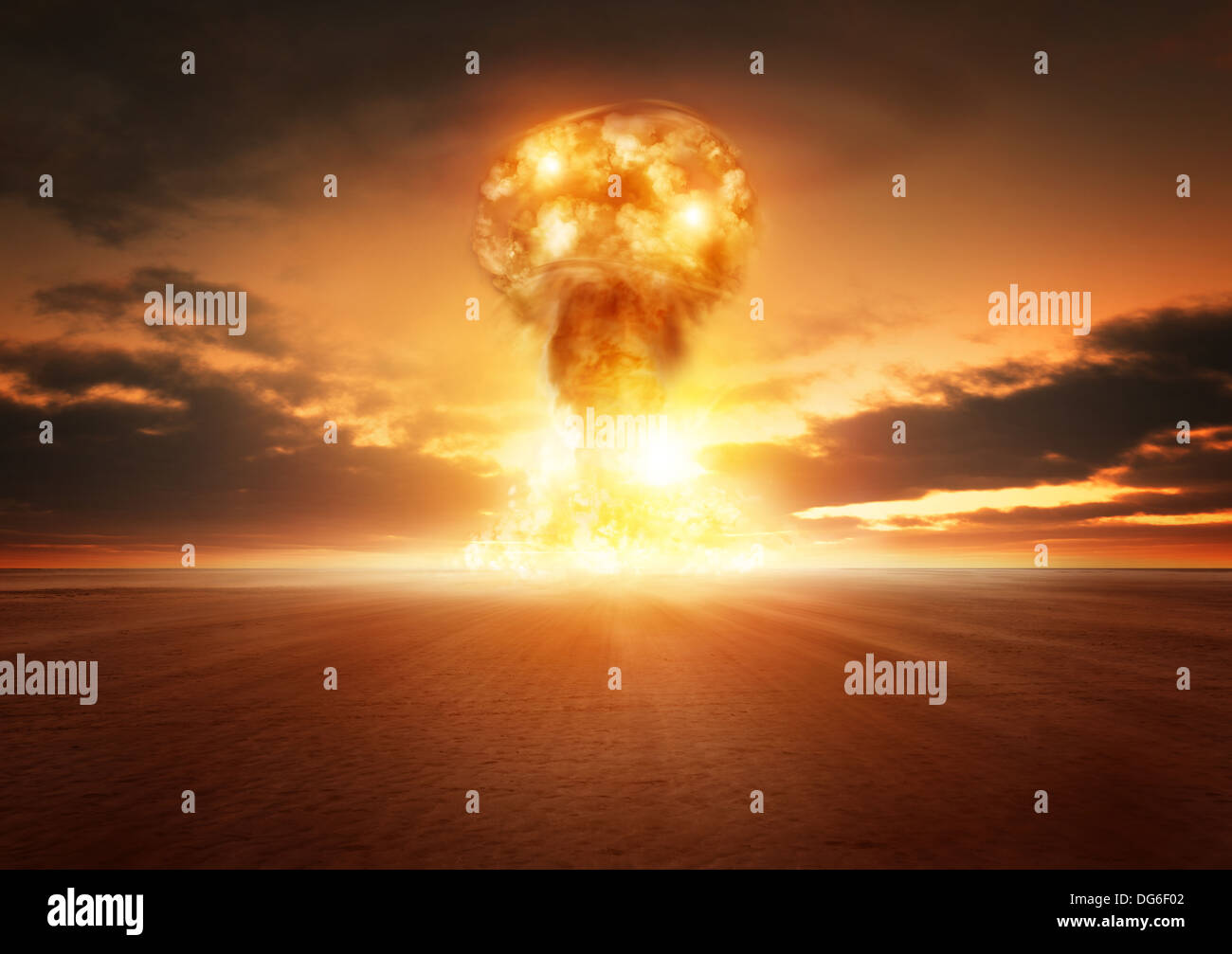 A modern nuclear bomb explosion in the desert. - Stock Image