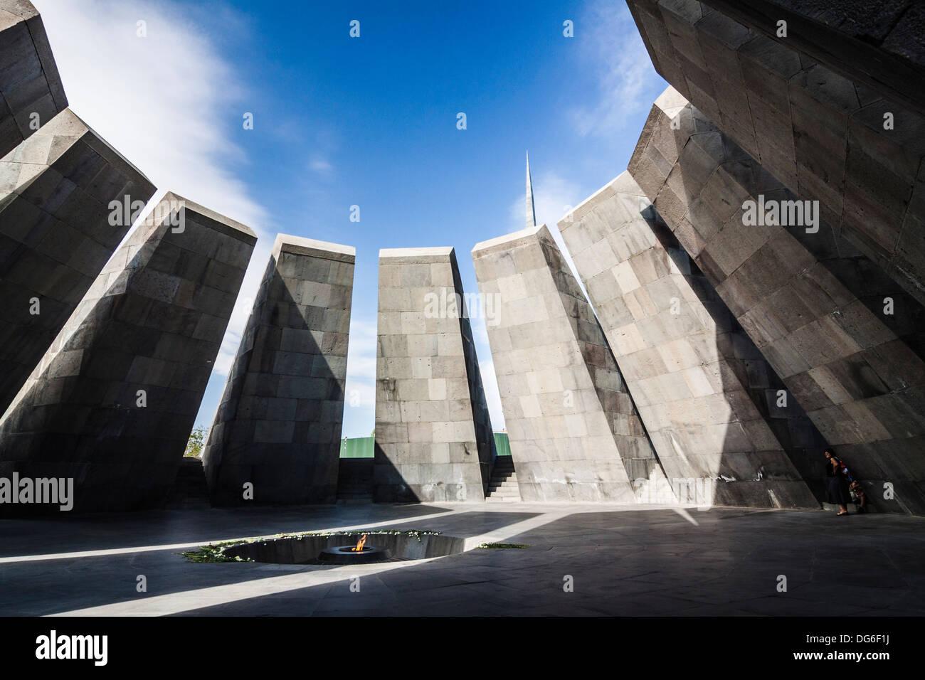 Eternal flame at the Tsitsernakaberd memorial monument of the Armenian Genocide, Yerevan, Armenia - Stock Image