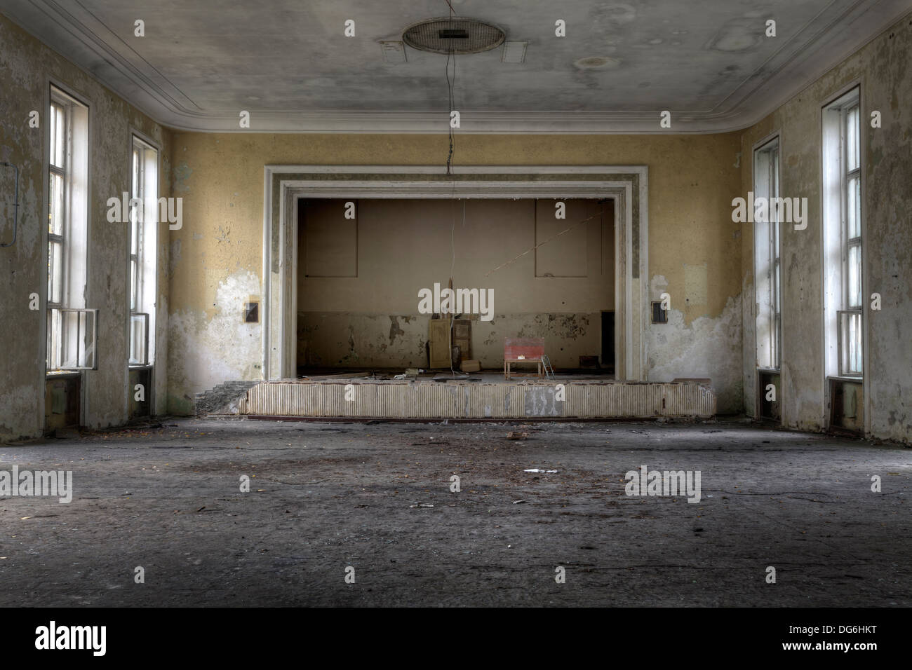 Decline of the arts - an abandoned theater at the Abandoned Soviet missile base, Vogelsang, Brandenburg, Germany - Stock Image