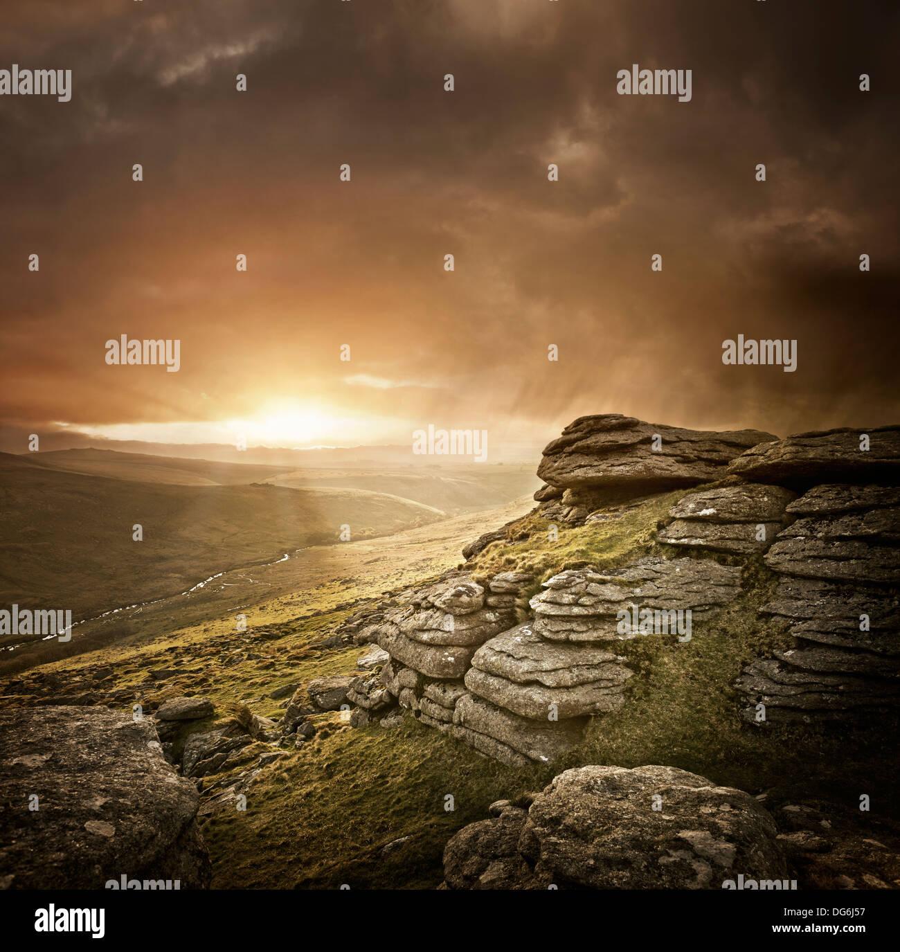 Dramatic Wild Landscape, Dartmoor, UK. - Stock Image