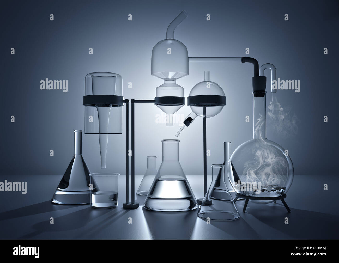 The Chemistry Lab. Various glass chemistry lab equipment - Stock Image