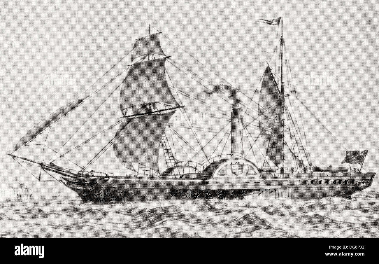 The Paddle Steamer SS Sirius leaves Cork harbour April 4 1838 with ninety  four passengers, arriving at New York on April 23 1838