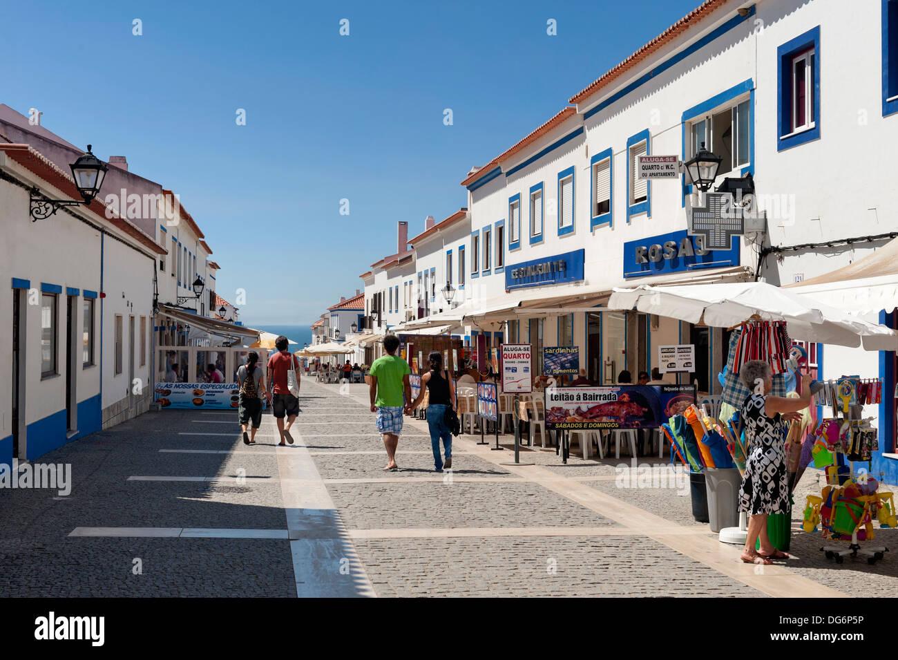 Portugal, the Alentejo, Porto Covo main street - Stock Image