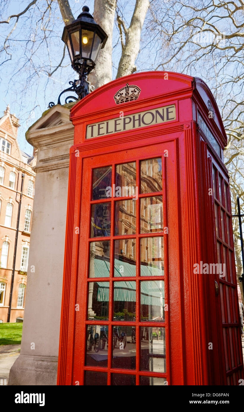 A red telephone box, London, UK. - Stock Image