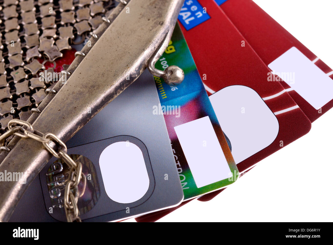 antiquarian purse with credit cards - Stock Image