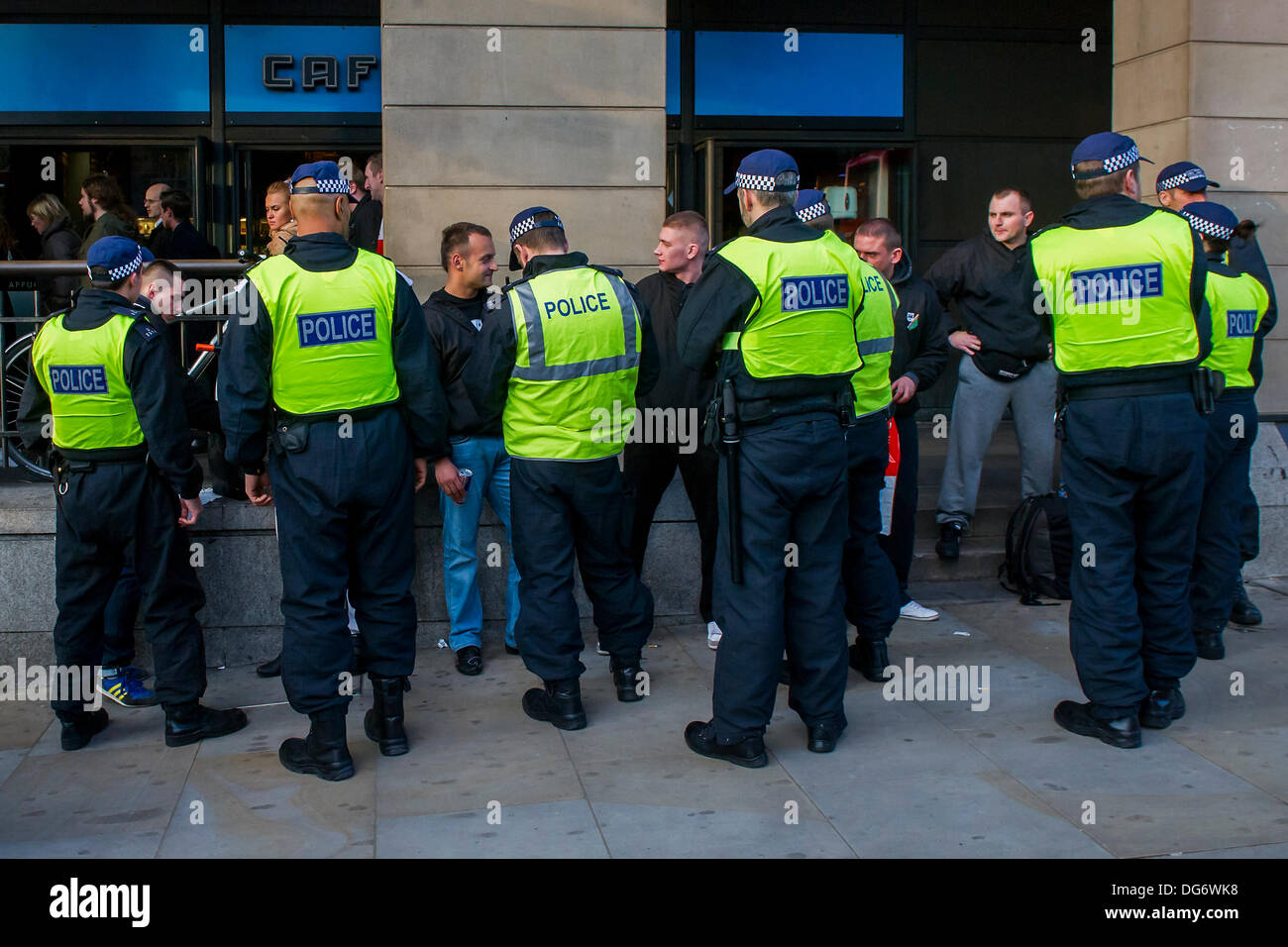 London, UK. 15th October 2013. Police perform stop and search procedures on Polish fans at Westminster prior to tonight's World Cup game with England. Westminster, London, UK 15 Oct 2013. Credit:  Guy Bell/Alamy Live News - Stock Image