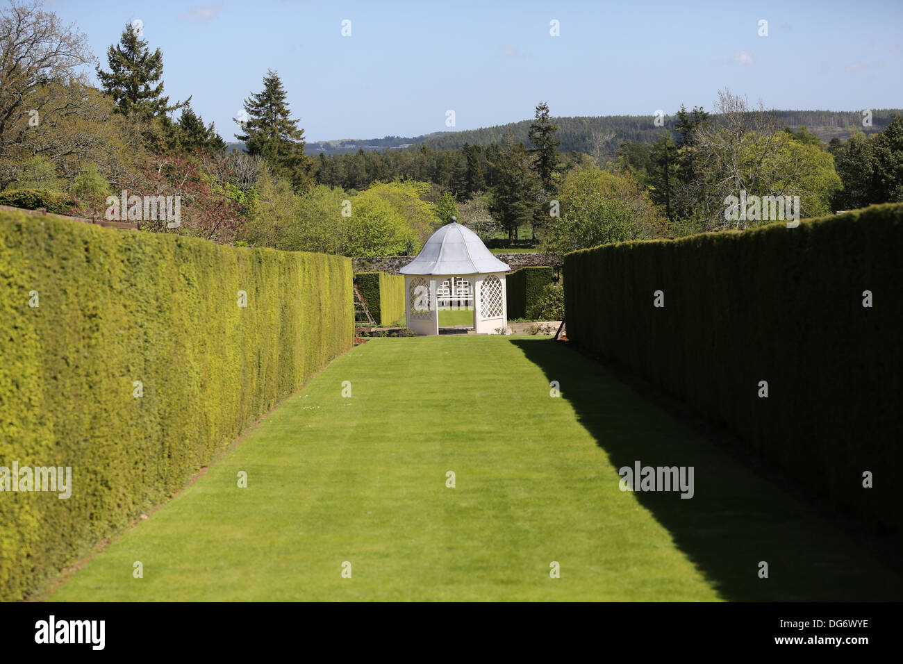 The gardens at Drum Castle in Royal Deeside near Banchory, Aberdeenshire, Scotland, UK - Stock Image