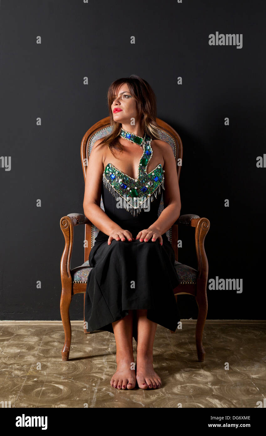 34ea6fdd1 beauty Gypsy woman sitting on the chair Stock Photo: 61618270 - Alamy