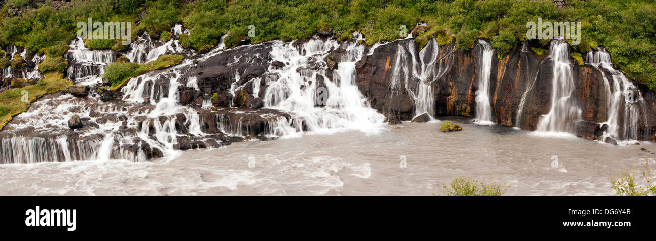 Composite Image of Hraunfossar Waterfall - Western Iceland - Stock Image