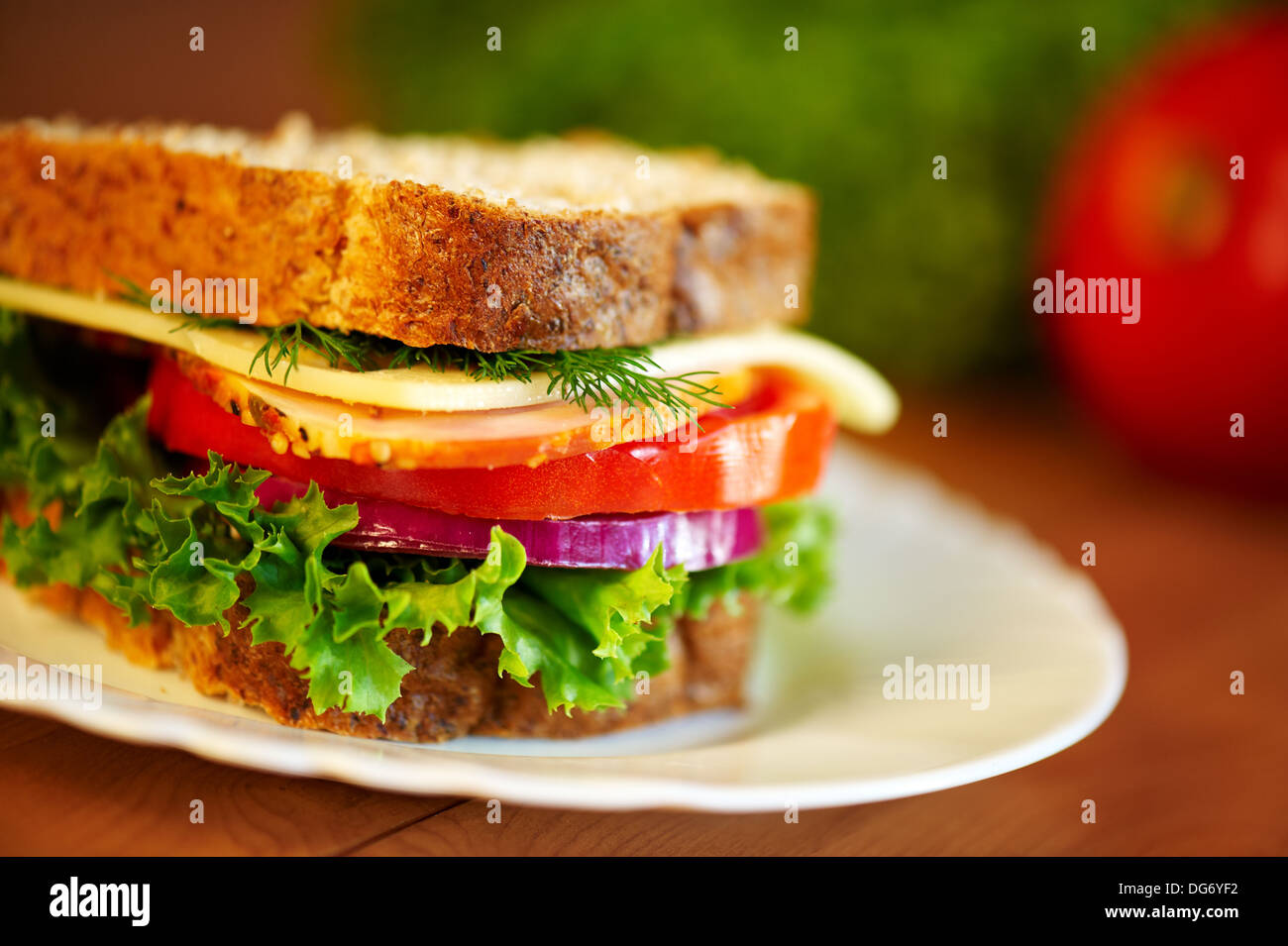 Close up of sandwich. Shalow DOF. Selective focus. - Stock Image