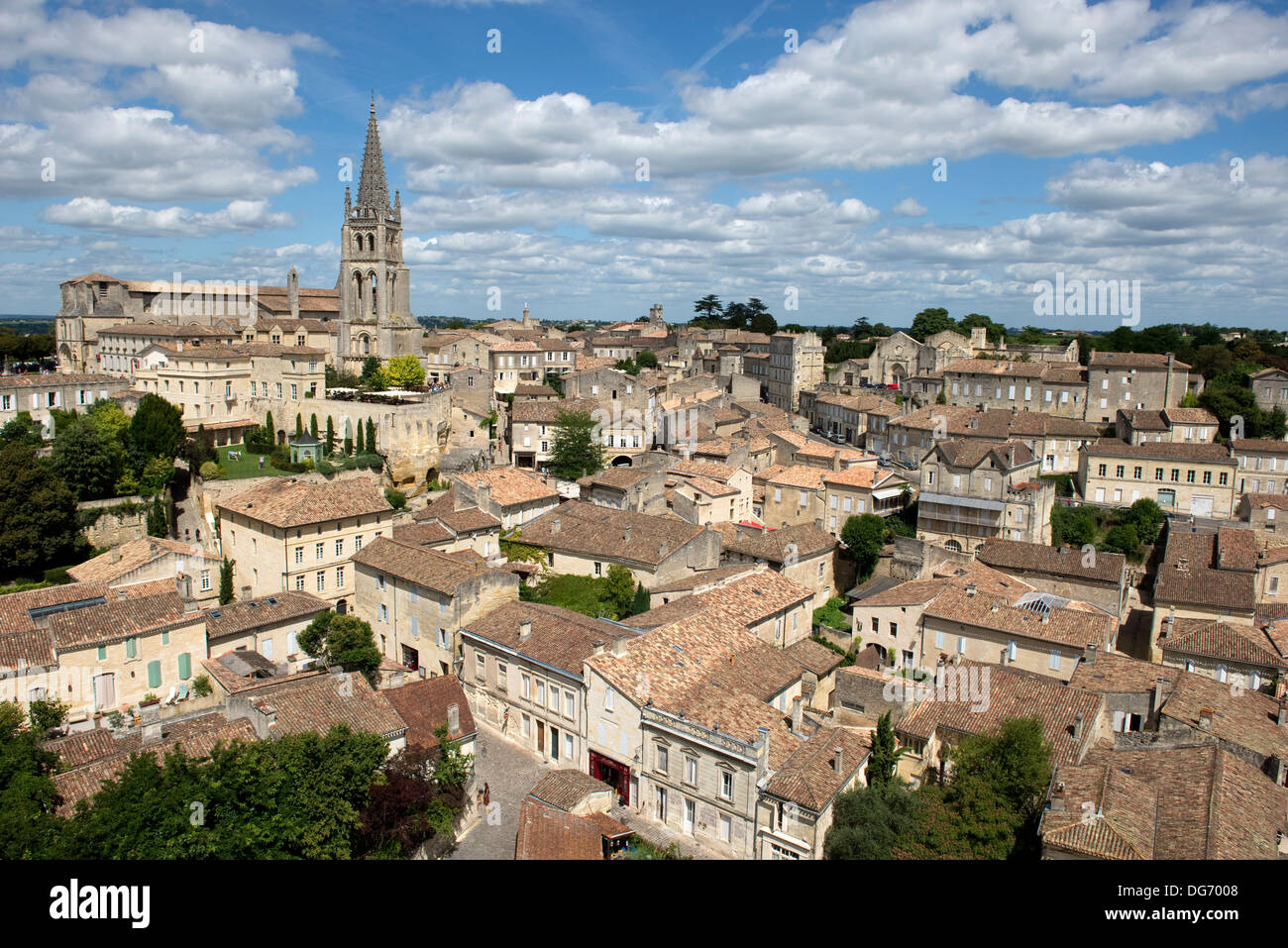 Saint Emilion and vineyards in the Bordeaux Region of France famous for its fine wines and vineyards, a World Heritage site - Stock Image